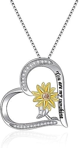 Pendientes largos de plata de ley 925 con dise/ño de girasol con texto en ingl/és /«You Are My Sunshine Sunflower/»
