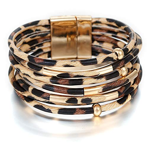 Avenche Leopard Bracelets for Women Metal Pipe Charm Multilayer Wide Leather Wrap Bracelet (Khaki)
