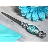 Stunning Murano art silver and teal letter opener From FavorOnline