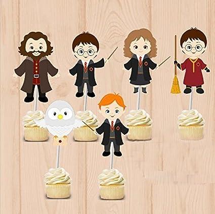 Harry Potter - Juego de 48 adornos para cupcakes, fiestas ...