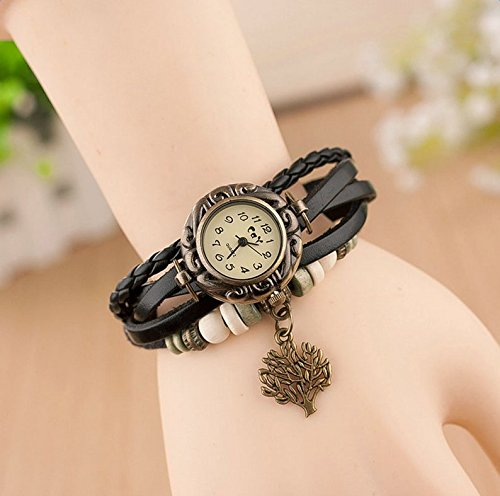 Hosaire Watch Bracelet Vintage Multilayer Weave Wrap Around Leather Chain Bracelet Quartz Wrist Watch with Tree Pendant for Women Men White by Hosaire (Image #9)