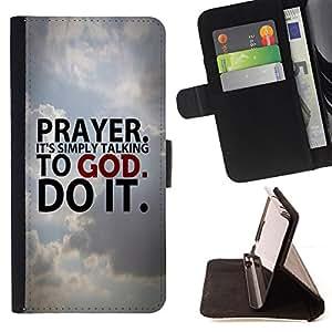 KingStore / Leather Etui en cuir / Samsung Galaxy S3 III I9300 / Oración BIBLIA. Es simplemente hablar con Dios.