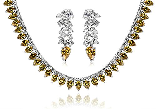 Epinki Silver Plated Jewelry Set, Wheat Drop Cubic Zirconia Yellow Wedding Necklace And Earrings Set by Epinki