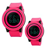 Unique Cool Outdoor Sport Digital Couple Watch All Red Soft Band Led Alarm(Two Pieces One Pack)