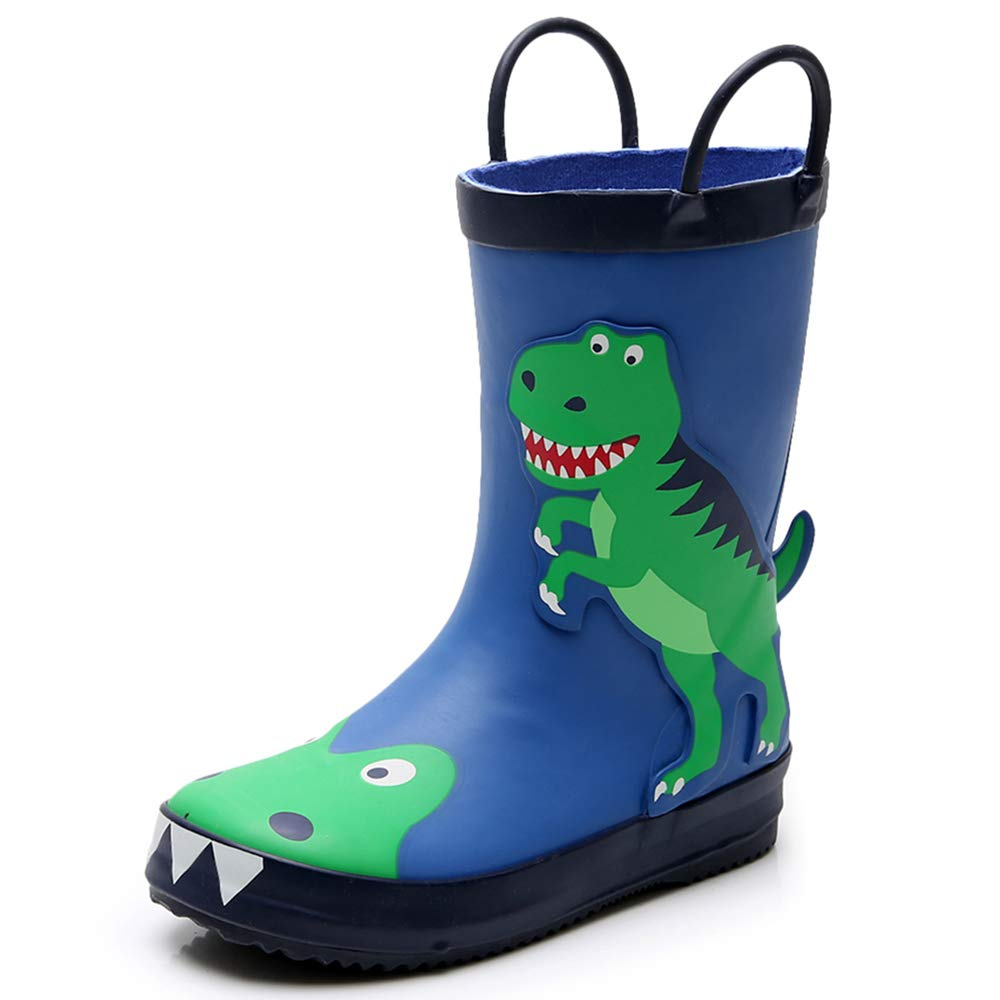 Triple Deer 3D Boy Rubber Rain Boots, Cute Animal Lightweight Waterproof Raining Shoes for Toddlers & Little Kids Age 1-6, with Easy-on Handles (Dinosaur/Lady Bugs/Deer/Leopard) (Toddler 9M, Dinosaur)