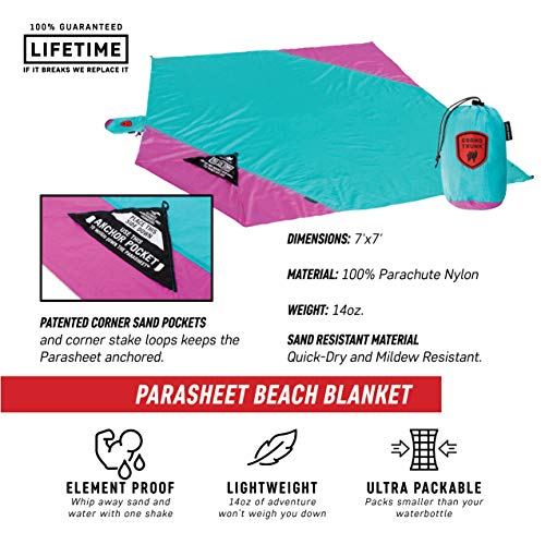 Grand Trunk Beach Blanket or Picnic Blanket with Patented Sand Anchor Pockets, Stake Loops and Attached Stuff Sack - Best Outdoor Blanket for Travel, Pink Flare (Parasheet Trunk Grand)
