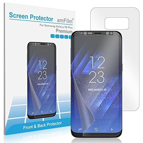 Galaxy S8 Plus Screen Protector (Front and Back), amFilm Full Screen Coverage Wet Application TPU HD Clear [Case Friendly] Screen Protector for Samsung Galaxy S8 Plus