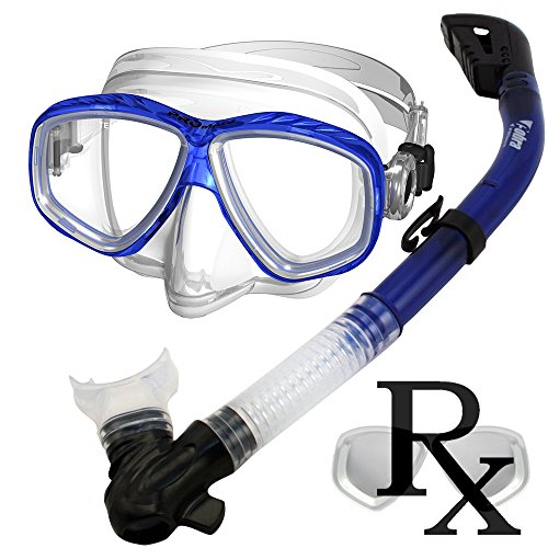 Prescription Purge Mask Dry Snorkel Snorkeling Scuba Diving Combo Set, TBlue