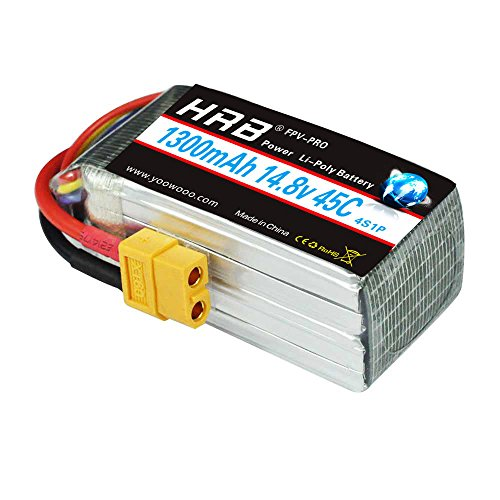 HRB 14.8V 1300mAh LiPo Battery Pack 45C 4S with XT60 Plug for Nemesis 240 Mini Tweaker 180 Micro Quad LRC Freestyle V1 MXP180 Danaus Vortex FLIP 250S MINI FLIP RC Heli Airplane Drone FPV Quadcopter by HRB