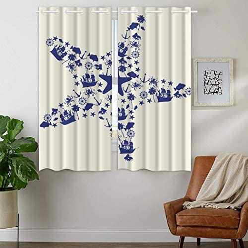 YISUMEI Curtains 54 x 84 Inch Top Grommet Drapes 2 Panels Window Coverings Blackout Darkening Nautical Octopus Star