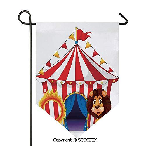(SCOCICI Easy Clean Durable Charming 28x40in Garden Flag Lion and a Fire Ring in Front of The Circus Tent Lightbulbs Flame Adventure, Double Sided Printed,Flag Pole NOT Included)