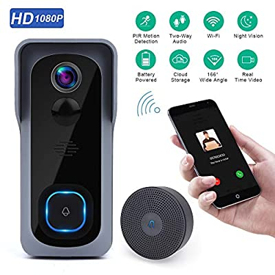 Wsdcam Doorbell Camera Wi-Fi with Motion Detector, Night Vision, 166°Wide Angle, Two-Way Audio, Waterproof 1080P HD Video Doorbell for Home Apartments with Phone Apps