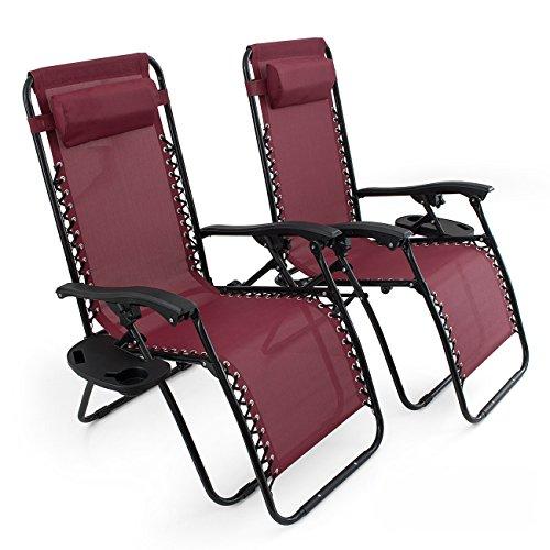 Belleze Burgundy Anti Gravity Chairs Set Of 2 Adjustable
