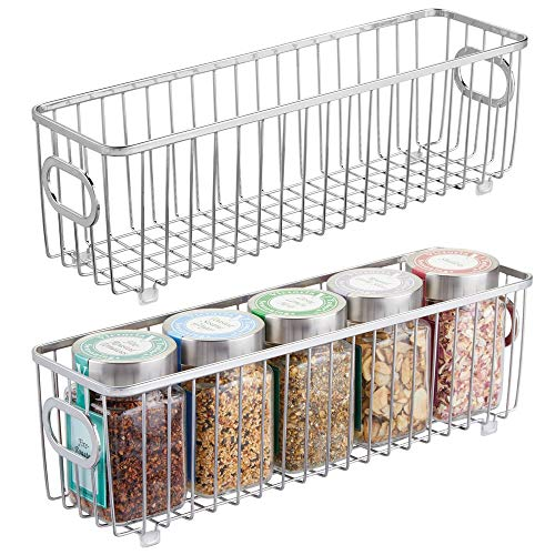 (mDesign Metal Farmhouse Kitchen Pantry Food Storage Organizer Basket Bin - Wire Grid Design - for Cabinets, Cupboards, Shelves, Countertops - Holds Potatoes, Onions, Fruit - Long, 2 Pack - Chrome)