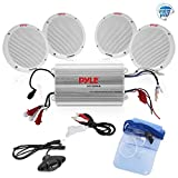 Pyle Marine Receiver Speaker Kit - 4-Channel Amplifier w/ 6.5' Speakers (4) Waterproof Poly Bag 3.5mm Jack RCA Adaptor for MP3/iPod & Volume Gain Remote Control & Power Protection Circuitry - PLMRKT4A
