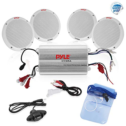 Pyle Marine Receiver Speaker Kit - 4-Channel Amplifier w/ 6.5