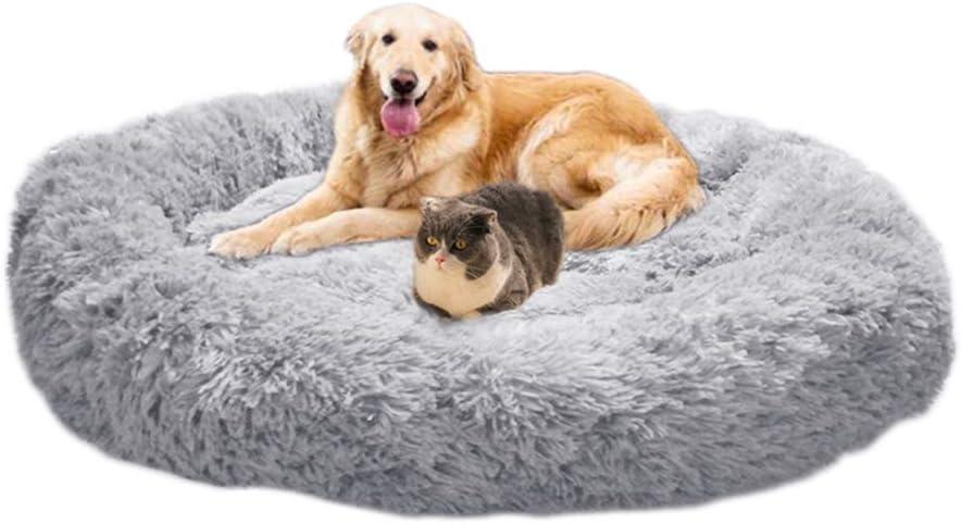 Wiliharui - Cama para perros, tamaño extra grande, lavable, redonda, con forma redonda, cálida, esponjosa, relajante, cama de pelo para perros grandes
