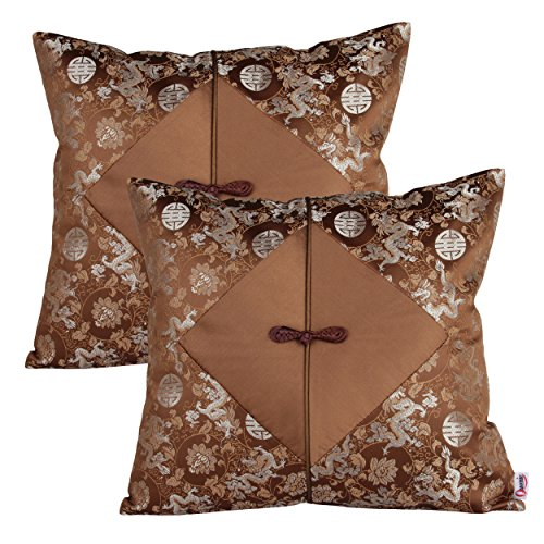Queenie® - 2 Pcs Silky Decorative Embroidered Chinese/oriental Pillowcase Series Ii Cushion Cover for Sofa Throw Pillow Case 16 X 16 Inch 40 X 40 Cm (Dragon & Chinese Knot ()