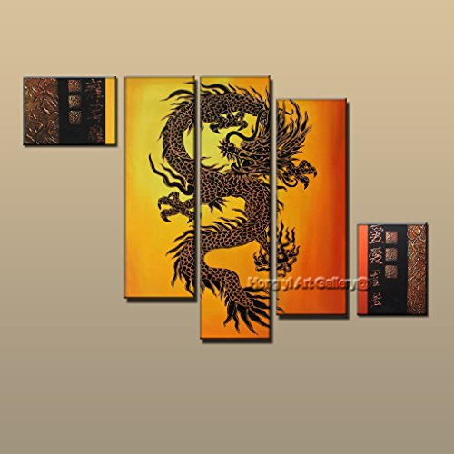 hong yi art-5pcs/set Framed 100% Hand-painted Original Abstract Painitng Chinese style Feng Shui Dragon Oil Painting On Canvas Huge Wall Art Living Room Home Decoration Aset9