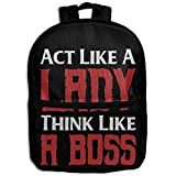 Act Like Lady Think Like A BossChildrens' BowChildren's Zipper Full Printed Backpack