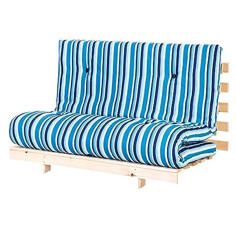 Swinging diseño de rayas doble futón (125 cm ancho) colchón con base de madera sofá cama de invitados de 2 plazas: Amazon.es: Hogar