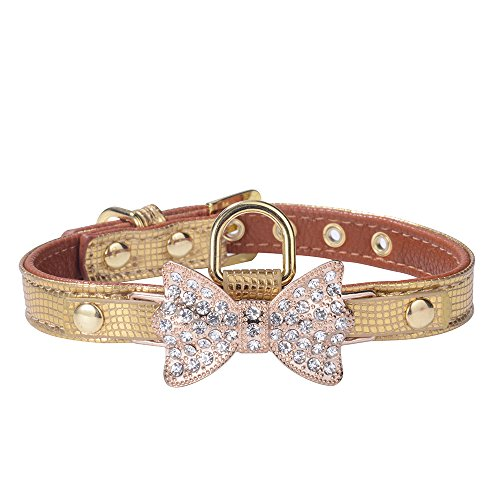(LTBling Gold Bling Diamond Giltter Leather Fashion Collar with Ring for Tags for Small Dogs Puppy,Chihuahua, Yorkshire, toy poodl, Bulldog and Cat Kitty Walking Travel Party Gifts (S, Gold))