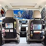 OMORC Organizador para Auto Universal Asiento Trasero Coche Bolsa de Almacenamiento organizadores Multipurpose Uso Piel Sintética Kick Mat Impermeable Asiento Protector De Espalda (negro2, 2piezas)