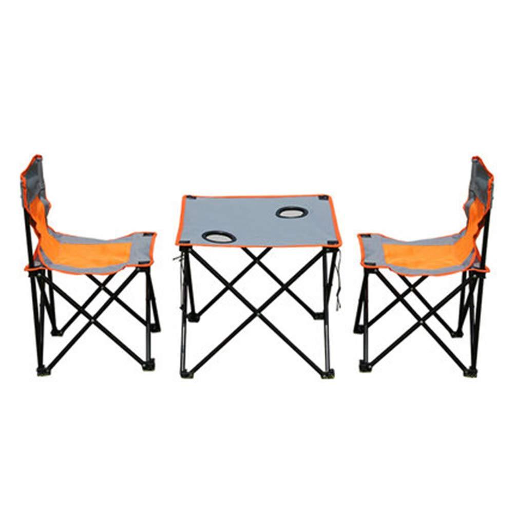 Bseack/_Store Wall Table Tavolo e Sedia Pieghevoli per Esterni Portatili Set di 3 Pezzi Portabicchieri in Rete Tour Self-Driving Pesca Casual Tessuto Oxford Arancione