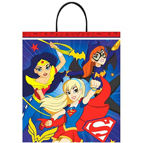 Amscan DC Birthday Superhero Girls Party Favour Treat Bag, Multicolor, 16