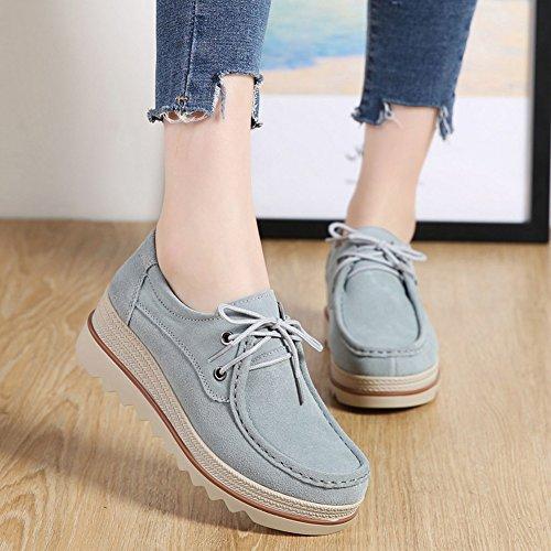 Platform Wide Lakerom Blue Comfort Work Lrwo0089 Loafers Top Wedge Women's Suede 35 light Low Shoes On Slip Moccasins 8fRRIqwxS