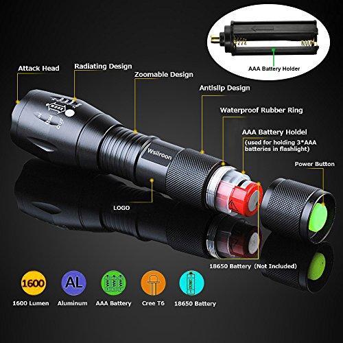 LED Tactical Flashlight Wsiiroon XML T6 Handhold Flashlight Portable, Zoomable, Waterproof, Super Brightness with 5 Light Modes for Indoor and Outdoor Use, 2 pack (Batteries Not Included)