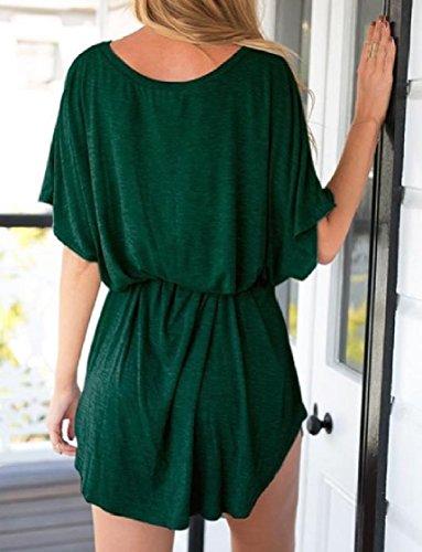 Coolred-femmes Manches Chauve-souris Ceinturée De Couleur Unie Sexy Robes Chics Irrégulières Vert Tendre