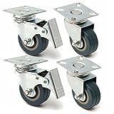 4Pcs 50Mm Heavy Duty Rubber Hitommy Swivel Castor Wheels Trolley Caster Brake