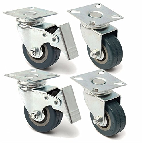 4pcs 50mm Heavy Duty Rubber Swivel Castor Wheels Trolley Caster Brake BephaMart BM00001