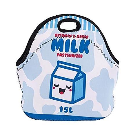 Lunch Bag térmico para lunch con cremallera Almuerzo caja de bolsas neopreno escuela trabajo bolso desayuno Happy Milk [048]