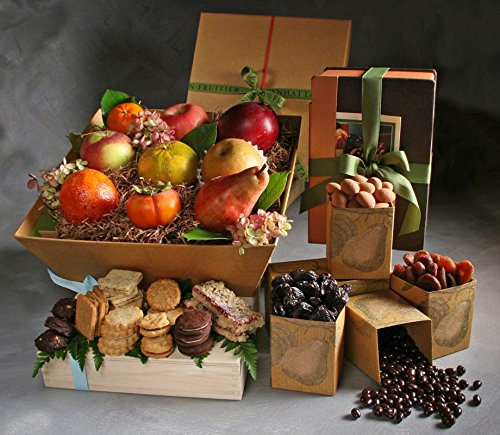 Champlain Deluxe Seasonal Fresh Fruit, Driied Fruit, and Tea Cookies Gift by Manhattan Fruitier with 9 Pieces Seasonal Fresh Fruit, Assortment Pack of Dried fruit & Nuts, and Tea Cookies by Manhattan Fruitier