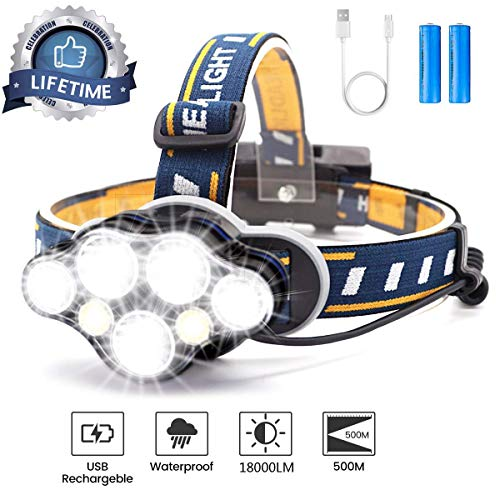 Brightest Headlamp,Super Bright 18000 Lumen 7 LED Work Headlight With Red Warning Lihgt 8 Modes Rechargeable Waterproof Flashlight , HeadLights for Camping Cycling Hunting Fishing Climbing Running Outdoor