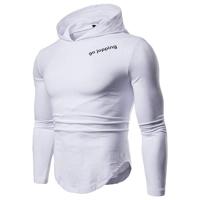 Sudaderas Hombre, JiaMeng Hombres Abrigo Chaqueta suéter Estampado Irregular Irregular con Capucha con Estampado de Remaches de Manga Larga Blusas: ...