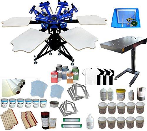 Full Screen Printing Kit 6 Color 6 Station Screen Printing Machine Starter Kit by Screen Printing Kit