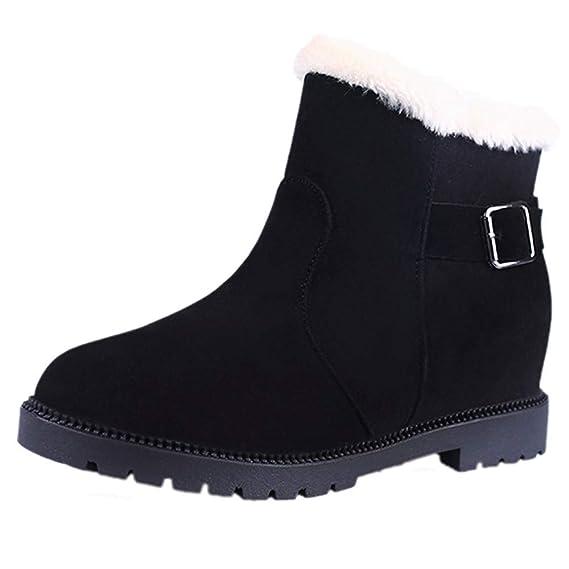 Toamen Zapatos Calientes Mujer Zapatos Planos Botas De Nieve Botas De Gamuza con Hebilla De Ante: Amazon.es: Ropa y accesorios