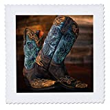 3dRose Stamp City - Fashion - Photograph of a Pair of Cowgirl Boots Against a Rustic Wood Wall. - 20x20 inch Quilt Square (qs_292960_8)