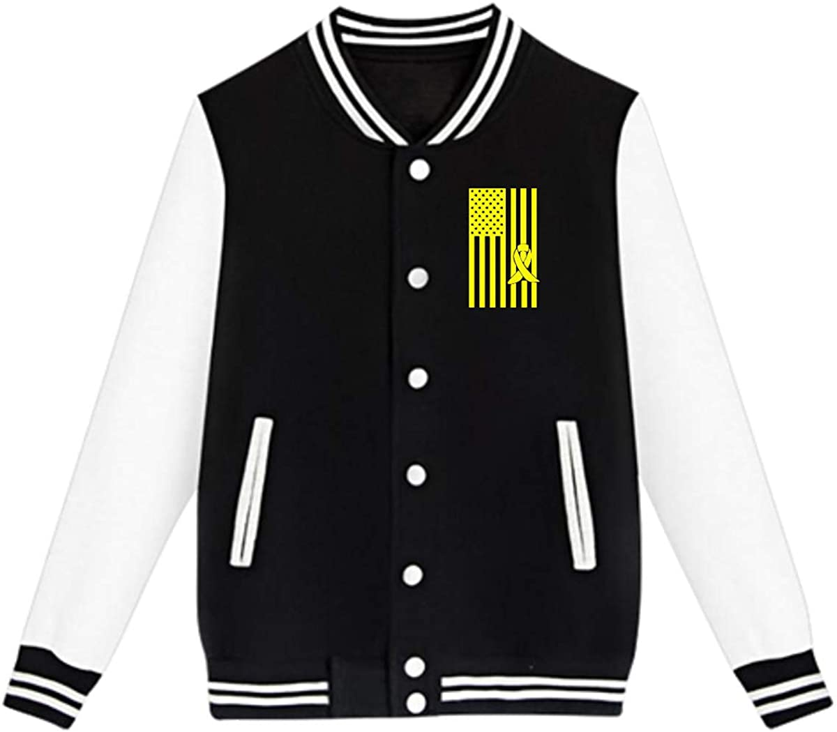 Back Print NJKM5MJ Unisex Youth Baseball Uniform Jacket Sarcoma Bone Cancer Awareness American Flag Coat Sport Outfit