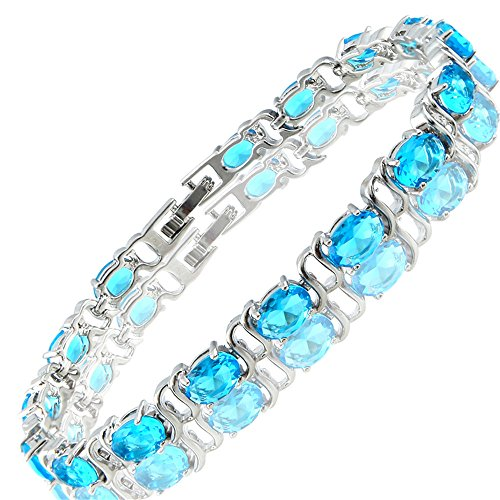Aqua Brass Cut Collection - RIZILIA Tennis Bracelet & Oval Cut CZ [Simulated Aquamarine] in White Gold Plated, 7