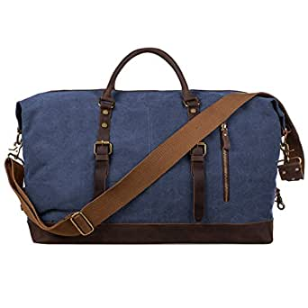 S-ZONE Oversized Canvas Genuine Leather Trim Travel Tote Duffel Shoulder Overnight Weekend Bag