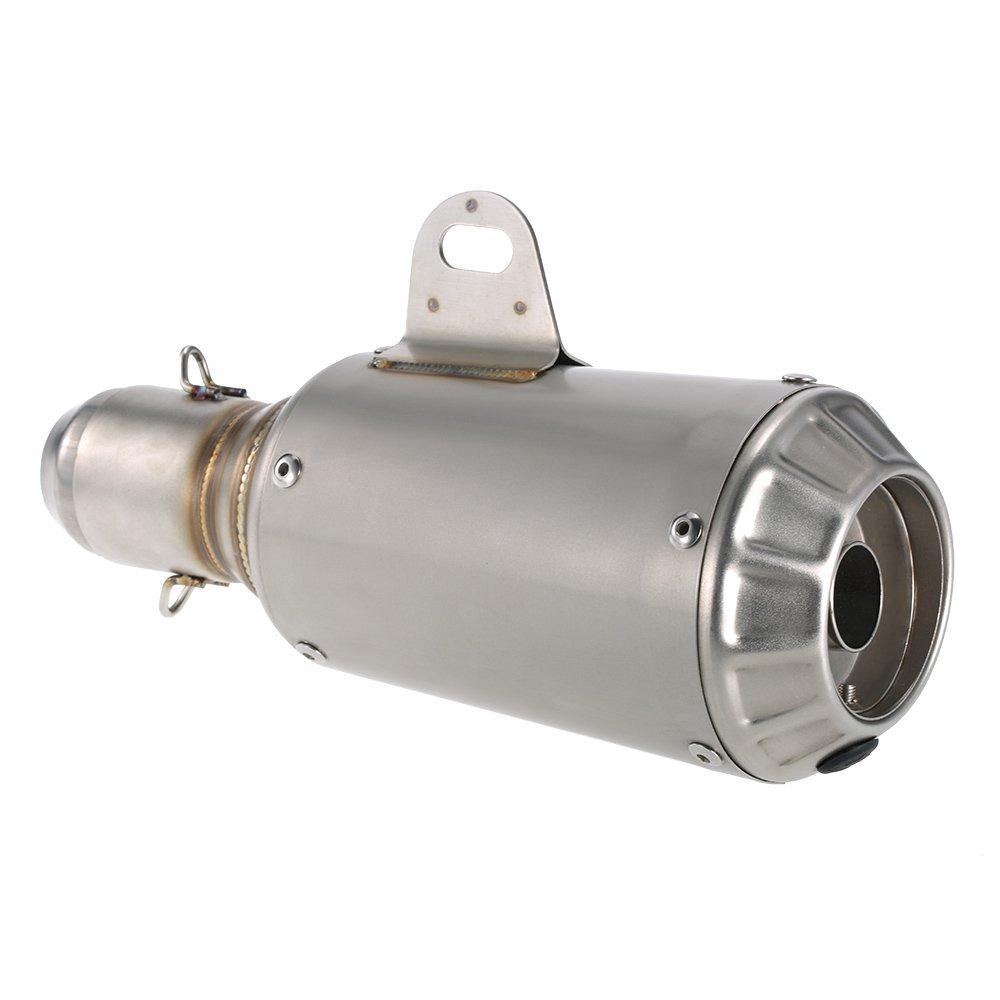 KKmoon Scarico Moto, Universale 51mm Tubo di Scarico Marmitta in Acciaio Inox, Terminale di Scarico Tubo Silenziatore per Moto ATV, Riduzione del rumore