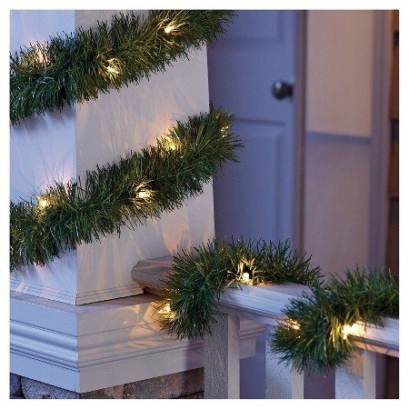 Philips LED 18 ft Lighted Garland - 50 Clear Warm White LED Mini Lights (With Led Christmas Garland Lights)