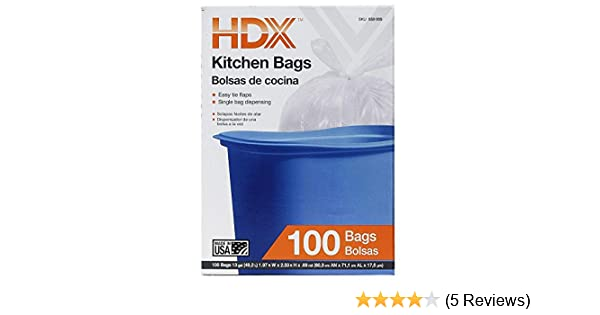 13 gal. White Kitchen Trash Bag with Flap (100-Count)