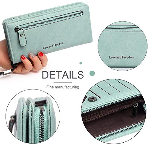 Vintage Women's with Ladies Women Slot Card Zipper Large Holder Long Pocket Handbag for Bag Elegant Wrist Solid Phone Clutch QLTYPRI Green Soft Wallet Purse Strap Capacity Cash Green Leather Ladies v0qddAwO