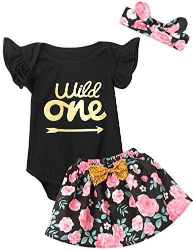 (Truly One 3PCS Outfit Short Set Baby Girls Floral Tops + Pants + Headband (Black05, 6-12)