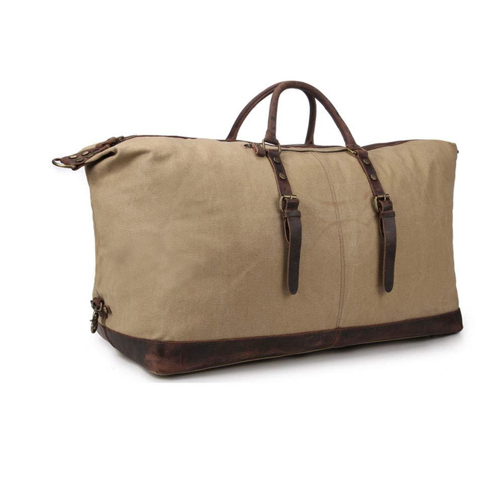 GLJJQMY 25インチ旅行バッグ撥水ワックスキャンバスハンドバッグヨーロッパとアメリカのスタイルの荷物袋、54 x 23 x 33cm トラベルバッグ (色 : カーキ)  カーキ B07MQTKQRB